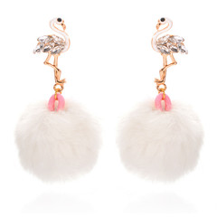 Fashion Cute Fluffy Flamingos Earrings for Women Girls Teenagers New Style Party Earrings black one size