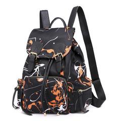 2pcs/Set Women Backpack graffiti backpack schoolbag for girls teenager travel bagpack drawstring bag black one size