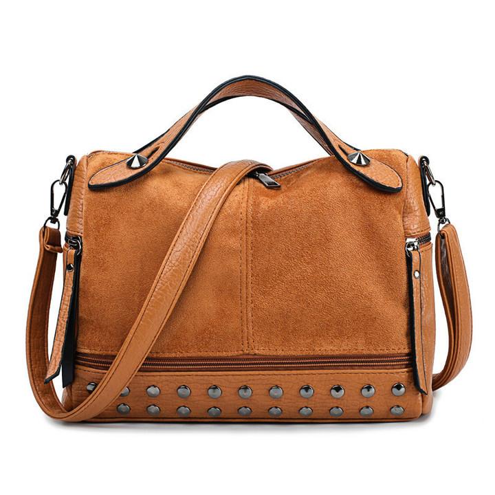 Shoulder bag handbag crossbody bag for women office lady fashion rivet matte tote bag Messenger bag black one size