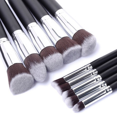 10Pcs Makeup brushes set Wooden handle Makeup Tools Face Eye shadow Powder foundation brush black and silver