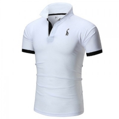 Men Polo Shirt Male Short Sleeve Casual Slim Solid Color Deer Embroidery Polos Men M to 5XL white m