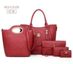 Female Bag 5 Piece Set Luxury Handbags Women Bags Designer Leather Shoulder Bag Purses and Handbags red one set