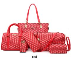New Style Women's Different Size Bags Six Pieces Set Pattern Europe And America Shoulder Handbag red one set