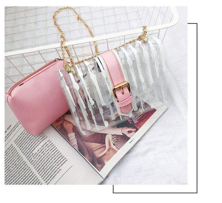 Small Brand Designer Woman Messenger Bag Chains Shoulder Bag Female Transparent Square PU Handbag black 20*15*8 cm