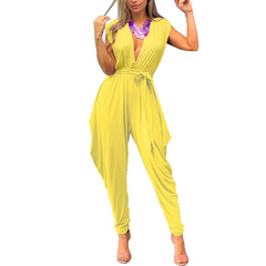 Summer 2019 New Urban Leisure Sleeveless Sexy Deep V Pure Color Jumpsuits yellow s