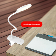 Led clip desk lamp rechargeable eye protection bedside USB university students desk lighting white-insert power 80*450*120mm 4.5W