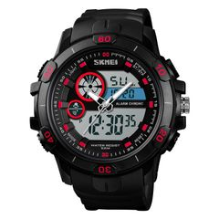 Multi function trend watch hot sale large dial waterproof sports men's electronic watch red