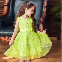 Babituo A-line/pricess girl dress sleeveless tea length lace girl costume clothes Green 80