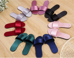 Women Slippers Shoes Flat Slippers Silk Home Flip Flops/ Flat Sandals Sliders/ Black, Pink, Red blue 39