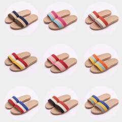 Women Slippers Home Indoor Wooden Floor Linen Slip Soled Sandals/ color red pink 36