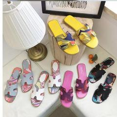 Luxury Brand 2019 New Summer Slippers, Women Slides H word Hollow Out/ Home Indoor, Outdoor black 35
