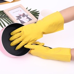 Reusable Household Gloves, Rubber Cleaning Gloves Kitchen Dishwashing Waterproof Gloves for One Pair Yellow Medium
