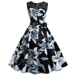 A new vintage sleeveless lace patchwork print dress black s