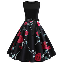 A sleeveless floral print dress with a wide train of ribbons black s