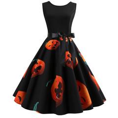 Hallowmas crewneck printed sleeveless dress with large train black s