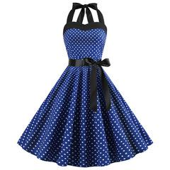 The new polka dot strapless dress has a vintage full skirt blue1 xxl