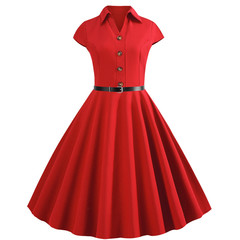 hot selling short sleeve plain lapel retro dress with large swing black s