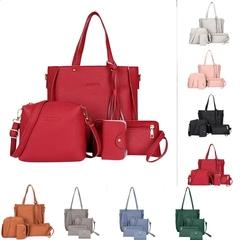 Women Bag 4pcs/set Shoulder Bag Purse Ladies PU Leather Crossbody Bag clutch wallet red Only one