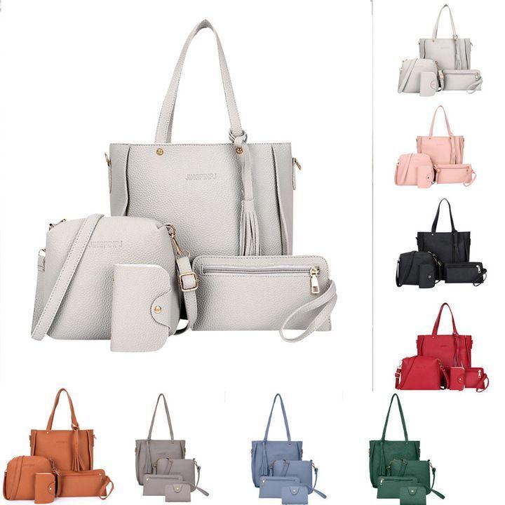 Women Bag 4pcs/set Shoulder Bag Purse Ladies PU Leather Crossbody Bag clutch wallet grey Only one