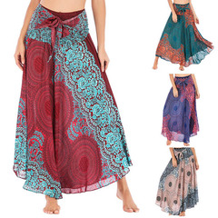 Women's Long Skirt,High Waist Bohemian Gypsy Flower Pattern Stretch Beach Skirt  2019 wine red only one