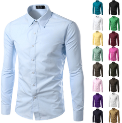New 2019 Solid Plus Size Slim Fit Cotton Men Dress Shirts Long sleeve Mens Casual Social Blue M (50KG-58KG)