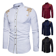 Explosion promotion good quality Fashion Men Casual Shirts Men Dress Wedding Clothes Evening Suit white s(45kg-50kg)