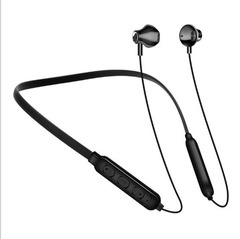 New Bluetooth Headset Neck-mounted Binaural Hanging Sports Wireless Earphone Black White Red black one size