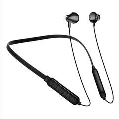 New Bluetooth Headset Neck-mounted Binaural Hanging Sports Wireless Earphone Black White Red black one size