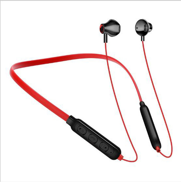 New Bluetooth Headset Neck-mounted Binaural Hanging Sports Wireless Earphone Black White Red red one size