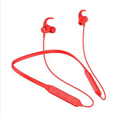 H27 Sports Bluetooth Headphones Neck-mounted New Neck Metal Magnetic Subwoofer Stereo Card Earphone red one size