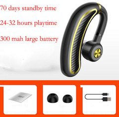 Single Ear Bluetooth Earphone Wireless Sports Headset Headphones 70 Days Standby Good Bass for Phone black-gold one size
