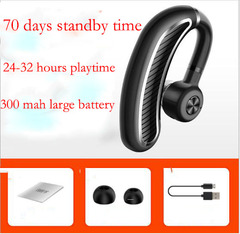 Single Ear Bluetooth Earphone Wireless Sports Headset Headphones 70 Days Standby Good Bass for Phone black-silver one size