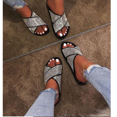 Shoes New Diamond European and American Women's Shoes ,Sandals ,Slippers Sandals Silver 37