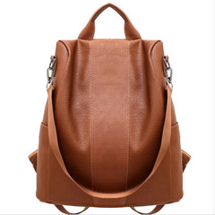 New Double Back Anti-theft Shoulder Bag Retro Backpack Pure Color Backpack one size black