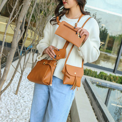 Four-piece mother's bag with one shoulder bag and multi-color fashion leisure bag khaki one size