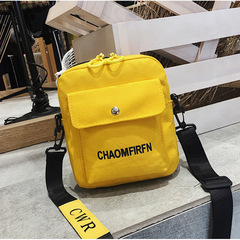 Summer new style canvas small bag women's leisure solid color single shoulder canvas bag yellow one size