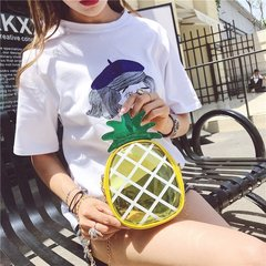 Summer Mini pineapple small bag cute chain transparent jelly bag Single Shoulder Messenger mobile ba yellow one size