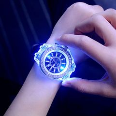 Fashion Trend LED Luminous Watch Wrist watch Rhinestone watch Quartz watch Girl watch Student watch Black