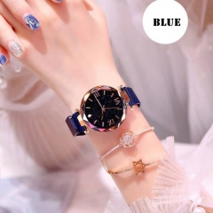 Luxury Magnetic Starry Sky Women Watch Quartz Wrist Watch Female Clock Quartz Watch ladi Wristwatch blue