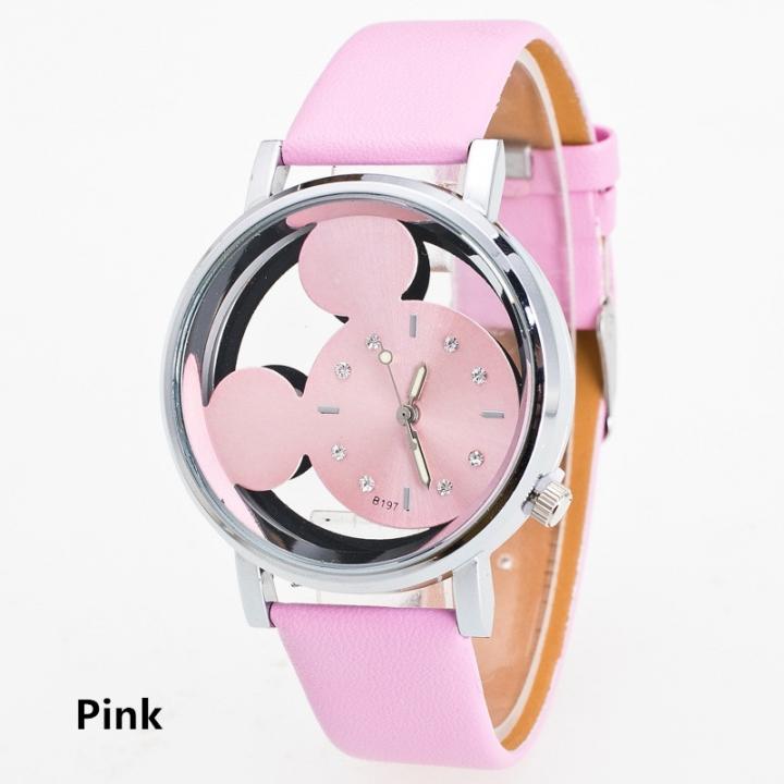 Hollow Watch Disney Mickey Mouse Kids Watch Children Watch Leather Belt Leather Watch Quartz Watch pink