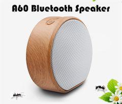 A60 Wood Grain Mini Wireless bluetooth speakers Portable woofer Hi-Fi Loudspeaker Support TF AUX USB white normal