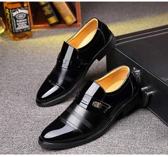 Fansion Men Dress Shoes PU Leather Texture Shiny Low Cut Business Shoes Wedding Driving black 38