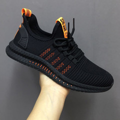 Breathable sneakers with true flying fabric are a new casual trend for fall 2019 Black and orange 6.5