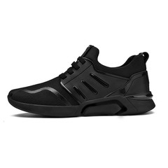 2019 spring and autumn new mesh fabric breathable versatile fashion casual sports mesh shoes The black side 6.5