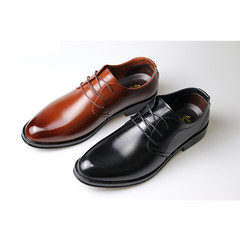 New business fashion leather shoes for casual lace-up formal wear in spring 2019 black 6.5