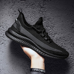 New 2019 summer trend sports casual breathable fly knit shoes black 6.5