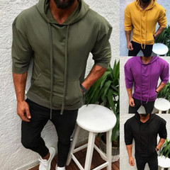 Hot style hooded, slim and sport sport solid colour halfsleeve hoodie for spring/autumn 2019 blue XXXL