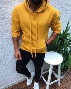 Hot style hooded, slim and sport sport solid colour halfsleeve hoodie for spring/autumn 2019 yellow M