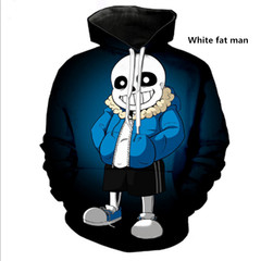 The new 2019 Undertale skeleton sans hoodie White fat man S