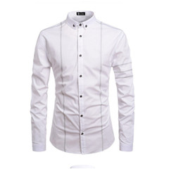 New 2019 bright line decorative lapel fashion casual shirt white M